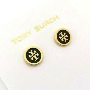 NEW Black Tory Burch Logo Circle Studs Earrings